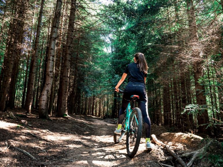 A girl is riding her mountain bike in the forest