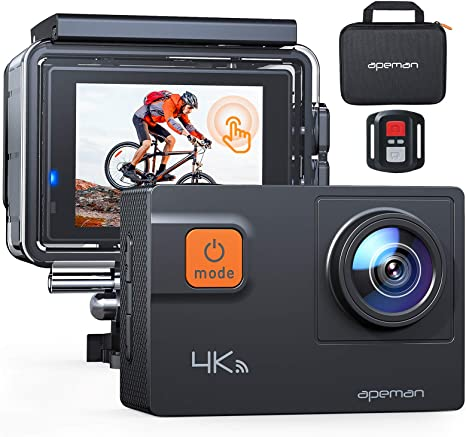 APEMAN Upgrade A87 Action Camera Touch Screen 4K 60FPS 20MP Wi-Fi Sports Cam 8X Zoom